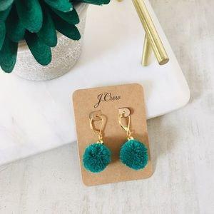J. CREW Pom-Pom Earrings Green